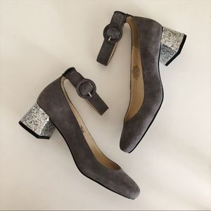 Shoes - Gray Faux Suede Silver Glitter Block Heel Buckle